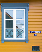 Traditional typical brightly painted house in Grjotagata in the old town area of capital city Reykjavik, Iceland