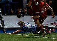 Cardiff Blues' Macauley Cook scores his sides first try<br /> <br /> Photographer Simon King/Replay Images<br /> <br /> Guinness PRO14 Round 15 - Cardiff Blues v Munster - Saturday 17th February 2018 - Cardiff Arms Park - Cardiff<br /> <br /> World Copyright © Replay Images . All rights reserved. info@replayimages.co.uk - http://replayimages.co.uk