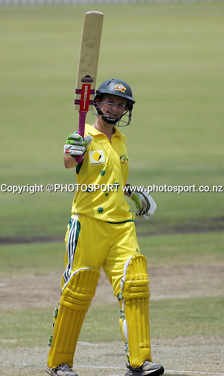 Australia's Leah Poulton brings up her half century during the fourth ODI Rose Bowl cricket match between the White Ferns and Australia at Allan Border Field, Brisbane, Australia, on Thursday 26 October 2006. Australia won the match by 85 runs with a total of 252. Photo: Renee McKay/PHOTOSPORT<br />