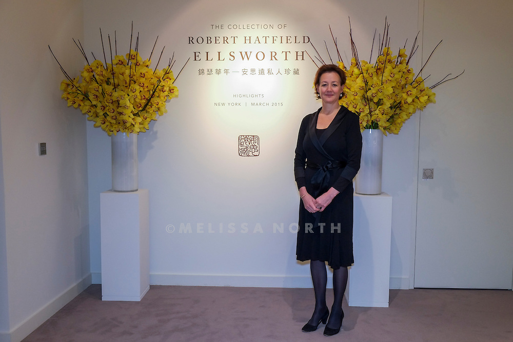 Leila de Vos van Steenwijk, Director, European Head Chinese Ceramics &amp; Works of Art at the touring highlights of The Collection of Robert Hatfield Ellsworth, <br /> at Christies in King St, London, UK on Tuesday 16th December 2014. In celebration of this unparalleled collection of Asian Art, Christie&rsquo;s will host a series of auctions and online-only sales during New York Asian Art Week in March 2015. Photo by Melissa North. Ref B5690