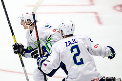 Jan Drozg of Slovenia and Miha Zajc of Slovenia celebrate after scoring a goal during ice hockey match between Hunngary and Kazakhstan at IIHF World Championship DIV. I Group A Kazakhstan 2019, on May 3, 2019 in Barys Arena, Nur-Sultan, Kazakhstan. Photo by Matic Klansek Velej / Sportida