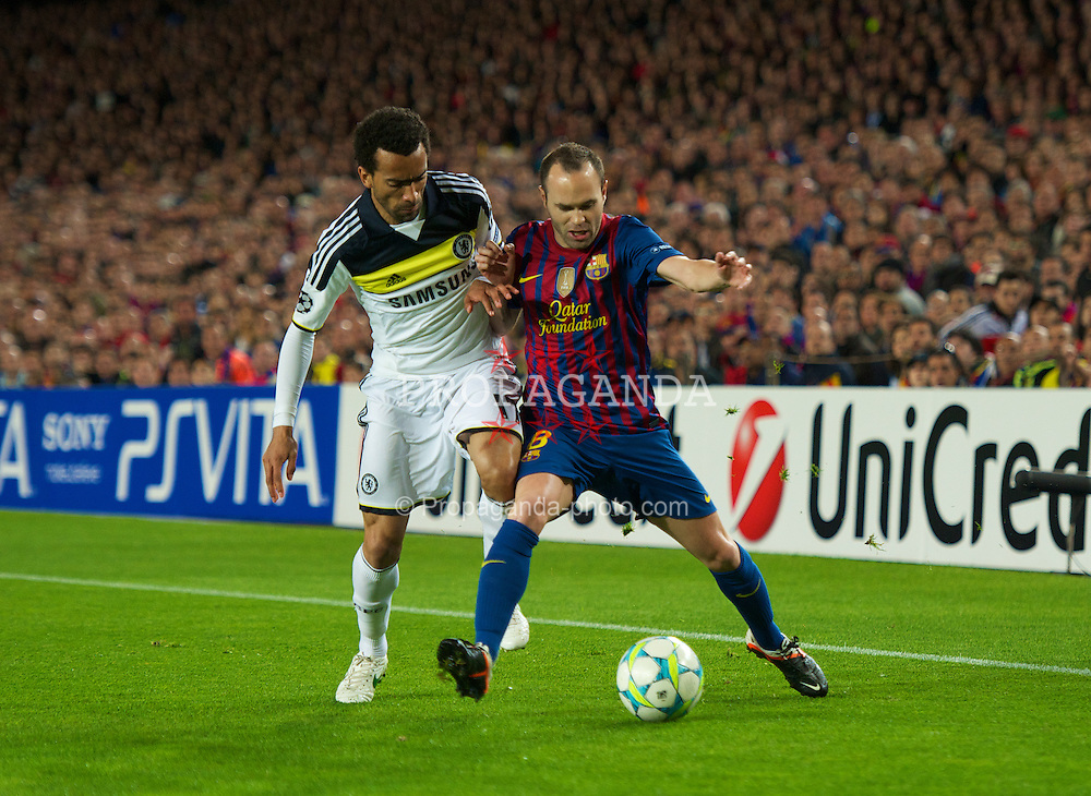 BARCELONA, SPAIN - Tuesday, April 24, 2012: FC Barcelona's Andres Iniesta and Chelsea's Jose Bosingwa during the UEFA Champions League Semi-Final 2nd Leg match at the Camp Nou. (Pic by David Rawcliffe/Propaganda)