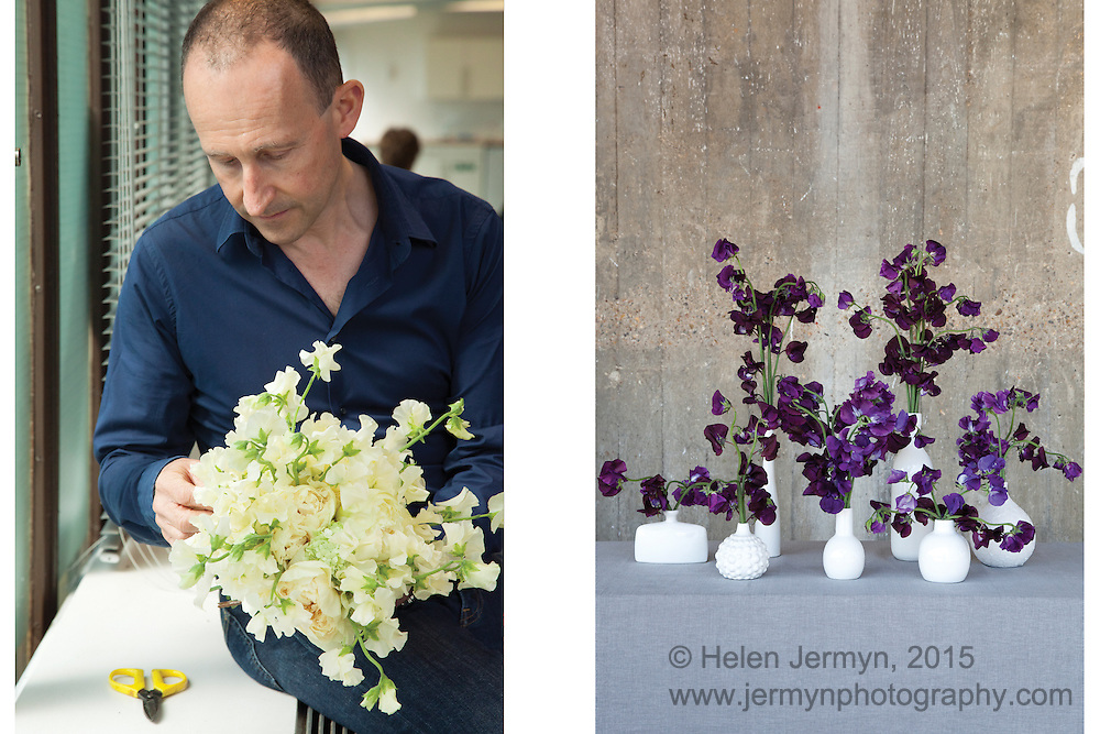 Paul Thomas and sweet pea arrangements, British Flowers Week