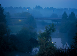 Stock photo of a foggy morning along Buffalo Bayou in Houston Texas