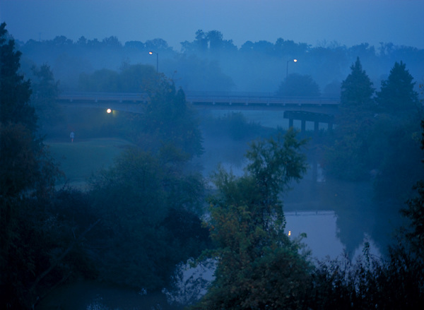 Stock photo of a foggy morning along Buffalo Bayou in Houston Texas