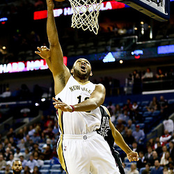 Mar 3, 2016; New Orleans, LA, USA; New Orleans Pelicans guard Eric Gordon (10) shoots against San Antonio Spurs during the first quarter of a game at the Smoothie King Center. Mandatory Credit: Derick E. Hingle-USA TODAY Sports