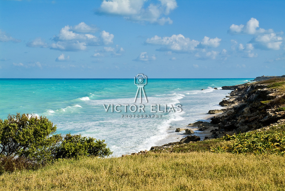 South shore cliffs and caribbean ocean. Isla Mujeres, Quintana Roo. Mexico.