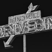 Windmill Drive Inn Sign - Kingsburg, CA - Highway 99 - HDR - Infrared Black & White