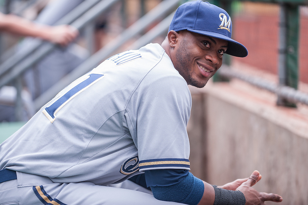 PITTSBURGH, PA - JUNE 08:  Irving Falu #21 of the Milwaukee Brewers looks on from the dugout before the game against the Pittsburgh Pirates at PNC Park on June 8, 2014 in Pittsburgh, Pennsylvania. (Photo by Rob Tringali) *** Local Caption ***  Irving Falu