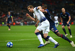 November 6, 2018 - London, England, United Kingdom - London, England - November 06, 2018.Tottenham Hotspur's Harry Kane holds of Denzel Dumfries of PSV Eindhoven.during Champion League Group B between Tottenham Hotspur and PSV Eindhoven at Wembley stadium , London, England on 06 Nov 2018. (Credit Image: © Action Foto Sport/NurPhoto via ZUMA Press)
