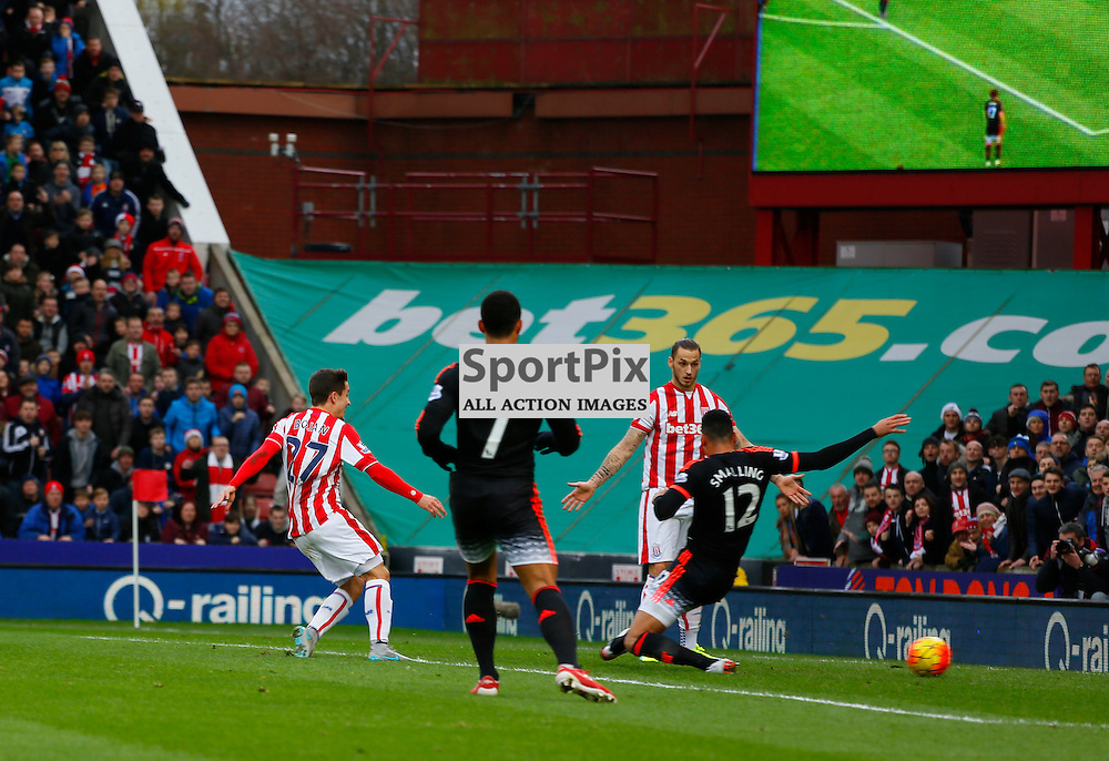 Bojan scores during Stoke City v Manchester United, Barclays Premier League, Saturday 26th December 2015, Britannia Stadium, Stoke