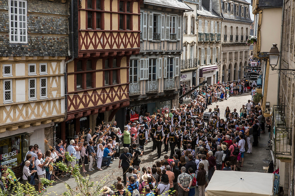 Participants take part in the Great Parade at the Festival de Cornouaille on Sunday, July 24, 2016 in Quimper, France.