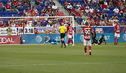 August 5, 2018 - Harrison, New Jersey, United States - Diego Rossi (9) of LAFC scores goal during regular MLS game against Red Bulls at Red Bull Arena Red Bulls won 2 - 1 (Credit Image: © Lev Radin/Pacific Press via ZUMA Wire)