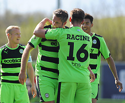 Forest Green Rovers's Jonathan Parkin celebrates his goal with team mates. - Photo mandatory by-line: Nizaam Jones - Mobile: 07966 386802 - 11/04/2015 - SPORT - Football - Nailsworth - The New Lawn - Forest Green Rovers v Macclesfield Town - Vanarama Football Conference
