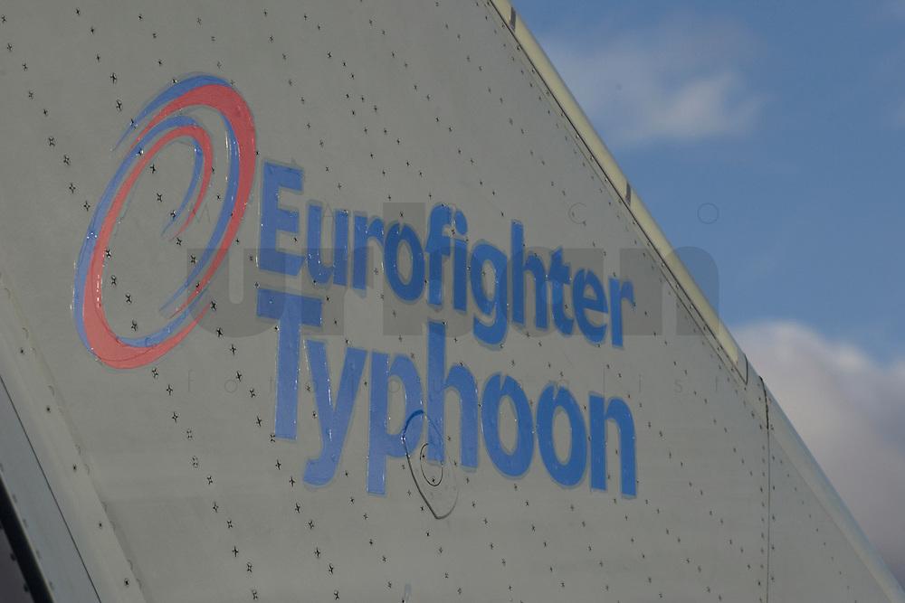 """03 NOV 2003, LAAGE/GERMANY:<br /> Schriftzug an der Heckflosse eines Eurofighter EF 2000 """"Typhoon"""", Fliegerhorst Laage<br /> IMAGE: 20031103-01-012<br /> KEYWORDS: Bundeswehr, Bundesluftwaffe, Jet, Kampfflugzueg, Logo, sign"""