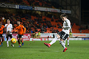 30th November 2018, Tannadice Park, Dundee, Scotland; Scottish Championship football, Dundee United versus Ayr United; Lawrence Shankland of Ayr United scores for 4-0 in the 86th minute