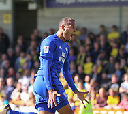 Kenneth Zohore celebrates the first goal for Cardiff City during the Sky Bet Championship match at the Pirelli Stadium, Burton upon Trent<br /> Picture by Mike Griffiths/Focus Images Ltd +44 7766 223933<br /> 05/08/2017