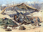 American Marines' gun position about June 1918. In background are remains of a wood whose trees have been shattered by gunfire. After painting by Henry Cheffer (1880-1957) French painter engraver and illustrator. CLEAR COPYRIGHT.
