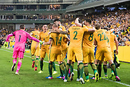 March 28 2017: The Socceroos celebrate Socceroos Mathew LECKIE (7) goal at the 2018 FIFA World Cup Qualification match, between The Socceroos and UAE played at Allianz Stadium in Sydney.