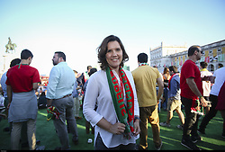 June 25, 2018 - Na - Lisbon, 06/25/2018 - Report on the Portugal Arena, at the Terreiro do Paço in Lisbon, during the transmission of the match Portugal vs Iran, to be counted towards the 2018 World Cup group stage Asunción Cristas, leader of the CDS-PP  (Credit Image: © Atlantico Press via ZUMA Wire)