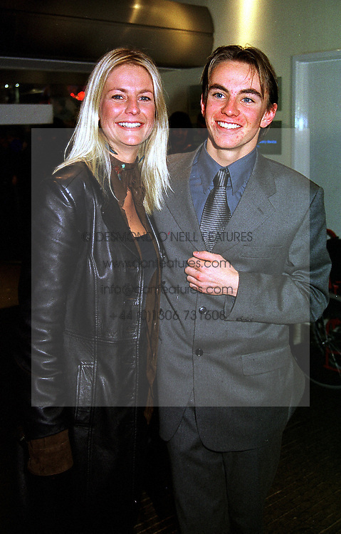 TV presenter ULRIKA JOHNSON and her brother  KRISTIN BRODIE, at a film premier in London on 11th January 2000.OAB 129