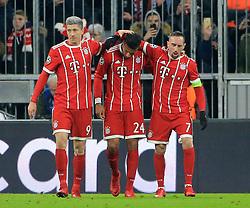 20171205, 1.CL, FC Bayern vs Paris Saint Germain, Allianz Arena Muenchen, Fussball, Sport, im Bild:..Jubel zum 2:0 durch Corentin Tolisso (FCB) hier mit Robert Lewandowski (FCB) und Franck Ribery (FCB)...*Copyright by:  Philippe Ruiz..Postbank Muenchen.IBAN: DE91 7001 0080 0622 5428 08..Oberbrunner Strasse 2.81475 MŸnchen, .Tel: 089 745 82 22, .Mobil: 0177 29 39 408..( MAIL:  philippe_ruiz@gmx.de ) ..Homepage: www.sportpressefoto-ruiz.de. (Credit Image: © Philippe Ruiz/Xinhua via ZUMA Wire)