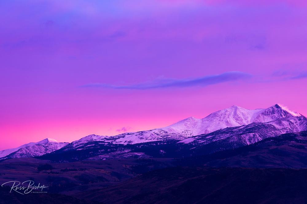 Evening light over the Sierra crest above Bridgeport, California USA