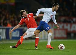 Joe Allen of Wales tries to tackle Aleksandar Ignjovski of Serbia - Mandatory by-line: Alex James/JMP - 12/11/2016 - FOOTBALL - Cardiff City Stadium - Cardiff, United Kingdom - Wales v Serbia - FIFA European World Cup Qualifiers