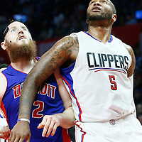 07 November 2016: Los Angeles Clippers center Marreese Speights (5) vies for the rebound with Detroit Pistons forward Aron Baynes (12) during the LA Clippers 114-82 victory over the Detroit Pistons, at the Staples Center, Los Angeles, California, USA.