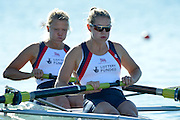 Varese,  ITALY. 2012 FISA European Championships, Lake Varese Regatta Course. ..GBR W2-, Bow. Caragh MCMURTRY and Olivia CARNEGIE-BROWN,  at the start of their heat of the Women's Pair. ..09:30:42  Friday  14/09/2012 .....[Mandatory Credit Peter Spurrier:  Intersport Images]  ..2012 European Rowing Championships Rowing, European,  2012 010660.jpg.....