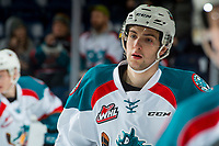 KELOWNA, CANADA - FEBRUARY 24: Libor Zabransky #7 of the Kelowna Rockets warms up against the Kamloops Blazers  on February 24, 2018 at Prospera Place in Kelowna, British Columbia, Canada.  (Photo by Marissa Baecker/Shoot the Breeze)  *** Local Caption ***