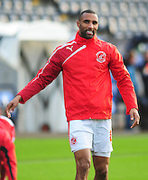 Fleetwood Town's Nathan Pond during the pre-match warm-up <br /> <br /> Photographer Kevin Barnes/CameraSport<br /> <br /> Football - The Football League Sky Bet League One - Shrewsbury Town v Fleetwood Town - Saturday 26th December 2015 - Greenhous Meadow - Shrewsbury<br /> <br /> © CameraSport - 43 Linden Ave. Countesthorpe. Leicester. England. LE8 5PG - Tel: +44 (0) 116 277 4147 - admin@camerasport.com - www.camerasport.com