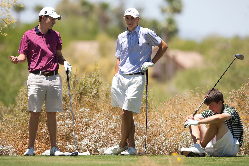 American Junior Golf Association players Oliver Schniederjans.(no hat), Patrick Cantlay and Jordan Spieth (light blue shirt) at the Thunderbird International Junior tournament.