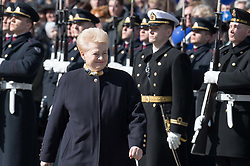 March 30, 2019 - Vilnius, Lithuania - Lithuanian President Dalia Grybauskaite reviews the guard of honor during a ceremony in Vilnius, Lithuania A number of events were held in Vilnius on Saturday to mark the 15th anniversary of the Baltic country's accession to NATO. (Credit Image: © Alfredas Pliadis/Xinhua via ZUMA Wire)