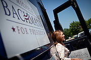GOP Presidential candidate Rep. Michele Bachmann arrives at a campaign stop in Des Moines, Iowa, July 20, 2011.