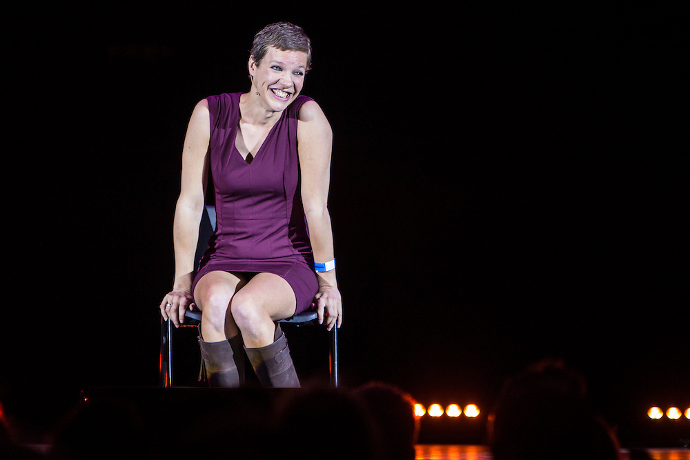 Francesca Martinez. The Peoples Assembly  presents: Stand Up Against Austerity. Live at the Hammersmith Apollo. London. © Andrew Aitchison / Peoples Assembly