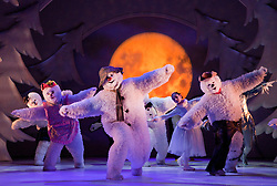 "© Licensed to London News Pictures. 30/11/2011. London, UK. The Birmingham Repertory Theatre Production of ""The Snowman"" opens at the Peacock Theatre, London, for a run until 8 January 2012. With James Leece as ""The Snowman"" and Charlie Salsen as ""The Boy"". Photo credit: Bettina Strenske/LNP"