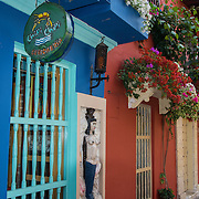 Charming Spanish colonial architecture graces the Old City, Cuidad vieja, of Cartagena, Colombia.