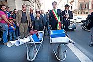 L'Aquila administrators Wheelbarrow protest