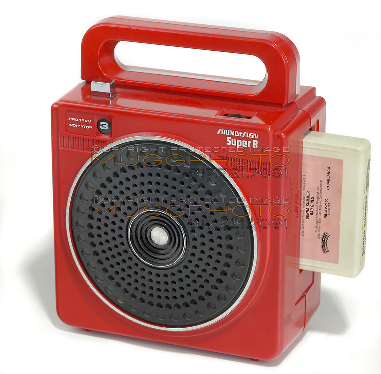 red portable eight track player