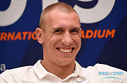 Piotr Lisek (POL) during a news conference at the Intercontinental Doha Hotel-The City, Thursday, May 2, 2019, in Doha, Qatar prior to the 2019 IAAF Diamond League Doha meeting. (Jiro Mochizuki/Image of Sport)