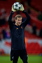 LIVERPOOL, ENGLAND - Wednesday, December 6, 2017: Liverpool's goalkeeper Loris Karius during the pre-match warm-up before UEFA Champions League Group E match between Liverpool FC and FC Spartak Moscow at Anfield. (Pic by David Rawcliffe/Propaganda)