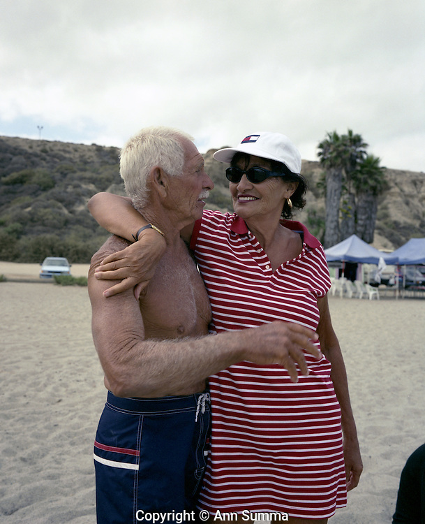 San Onofre, California: Dr. Dorian ?Doc? Paskowitz and his wife Juliette Paskowitz, on the beach at their surf camp in San Onofre near Oceanside, California, 2/8/2000.