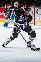 KELOWNA, CANADA - DECEMBER 5: Devante Stephens #21 of Kelowna Rockets skates with the puck against the Portland Winterhawks on December 5, 2015 at Prospera Place in Kelowna, British Columbia, Canada.  (Photo by Marissa Baecker/Shoot the Breeze)  *** Local Caption *** Devante Stephens;