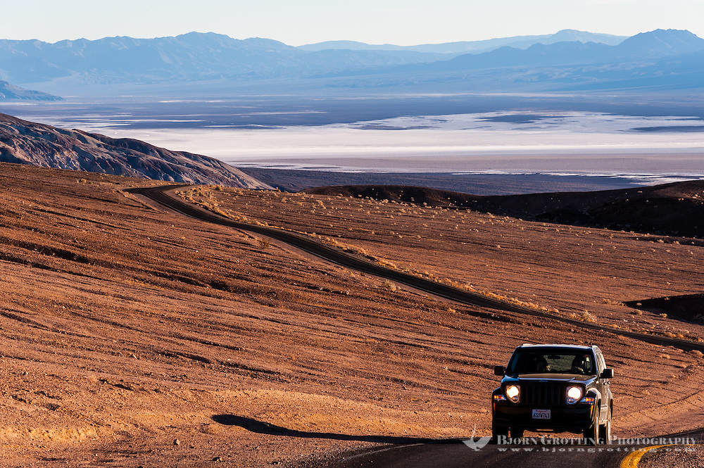 United States, California, Death Valley. Artist's Drive at the foot of the Black Mountains. View of the Badwater basin.