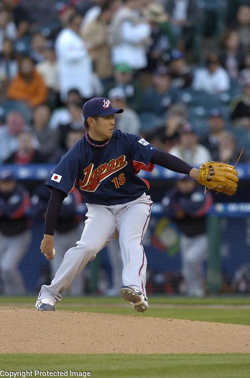 Team Japan starter Daisuke Matsuzaka pitches against Team Mexico in Round 2 action at Angel Stadium of Anaheim.