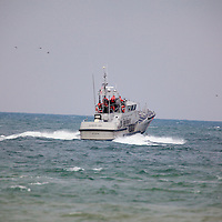 The US Coast Guard Motor Life Boat (MLB) 47227 motors its way out of Barnegat Inlet.   The 47 foot all-weather lifeboat is statationed at USCG Barnegat Light Station New jersey -  USCG 5th district.