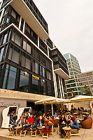 Cafes in Vasco da Gama Platz, Hafen City (along the harbor), Hamburg, Germany