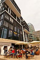 Cafes in Vasco da Gama Platz, Hafen City (along the harbor), Hamburg, Germany