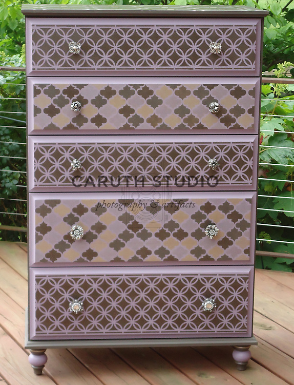 Chest of drawers makeover with stenciled Moroccan patterns